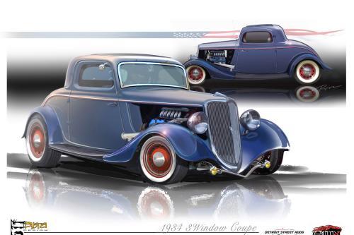 1934 Ford 3-Window Coupe EcoBoost Hot Rod, Detroit Street стержней