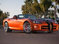 2010 Dodge Viper SRT10 Roadster in Toxic Orange Pearl Coat with black dual racing stripes