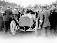 Gordon Bennett race in Ireland, July 2, 1903. Camille Jenatzy at the wheel of the 60 hp Mercedes Simplex before the start.